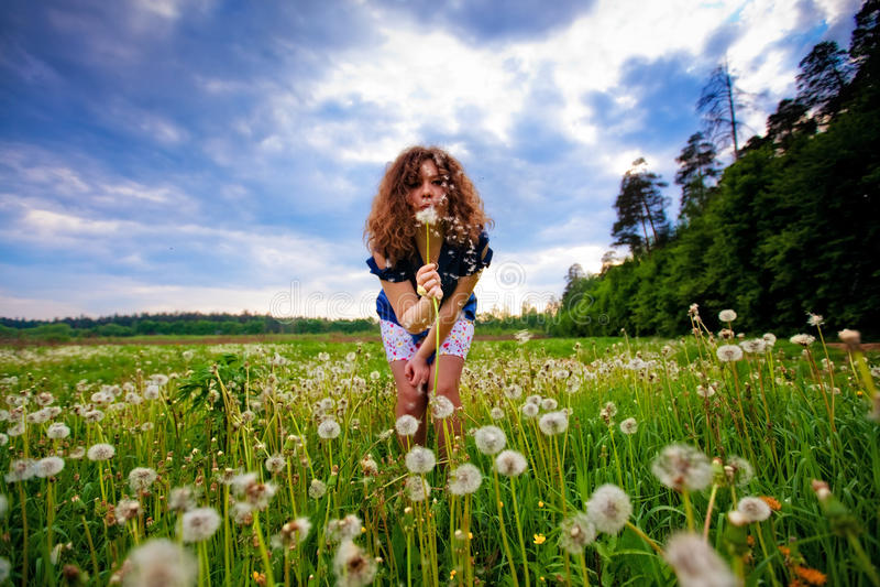 Girl Blowing A Dandelion Stock Photos