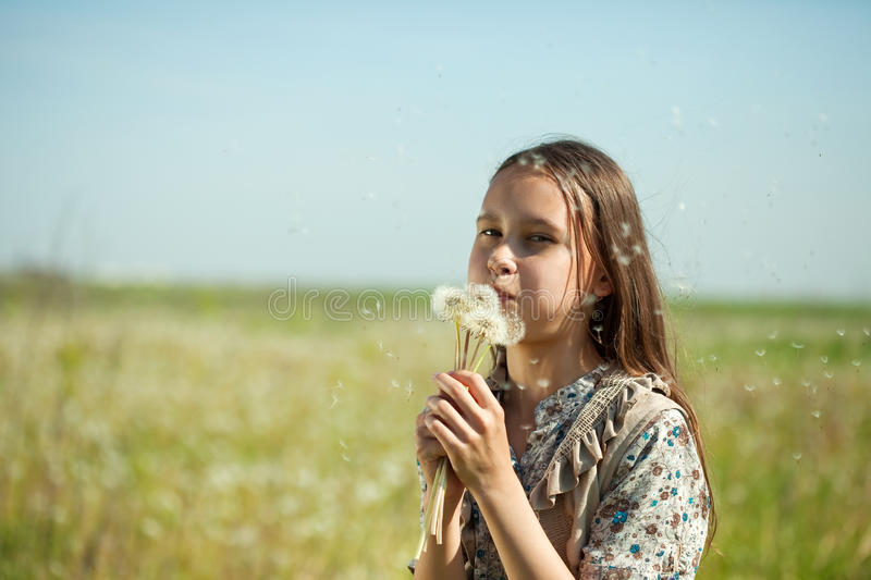 Girl blowing a dandelion stock photo