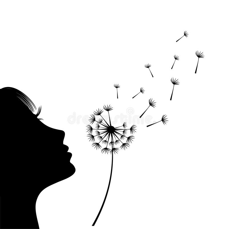 The girl is blowing a dandelion. Silhouette. royalty free illustration
