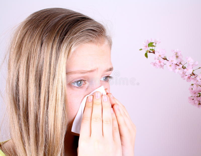 Girl blows her nose with handkerchief and cherry blossoms royalty free stock images