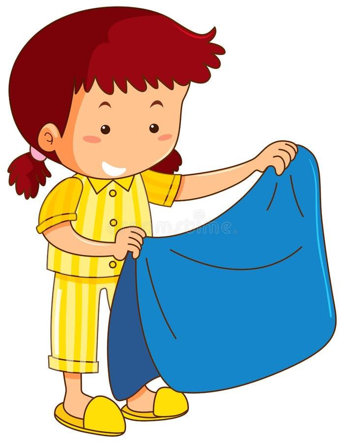 Girl and blue blanket stock illustration