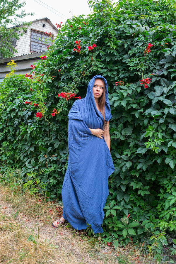 Girl in a blue cloak. Girl in a blue hooded cloak standing on the green wall background of wild grapes royalty free stock image