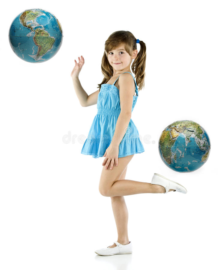Girl with blue dress stock photo