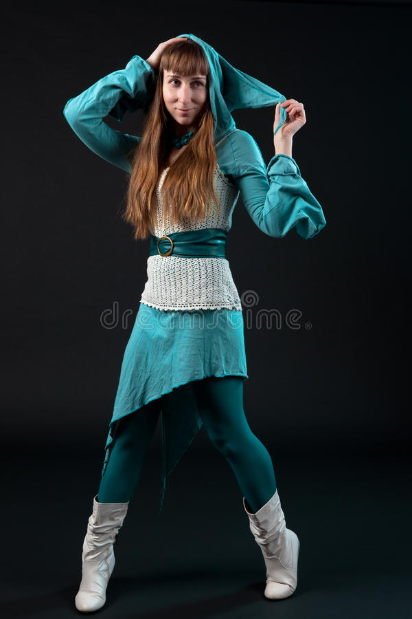 Download Girl In Blue Dress With Goblin Hood Stock Photo - Image: 18048790