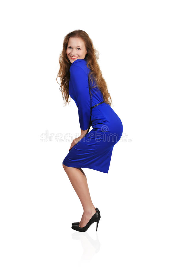Download Girl in a blue dress stock image. Image of dress, pleasure - 31578137