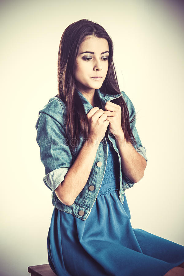 Girl in blue dress royalty free stock photos