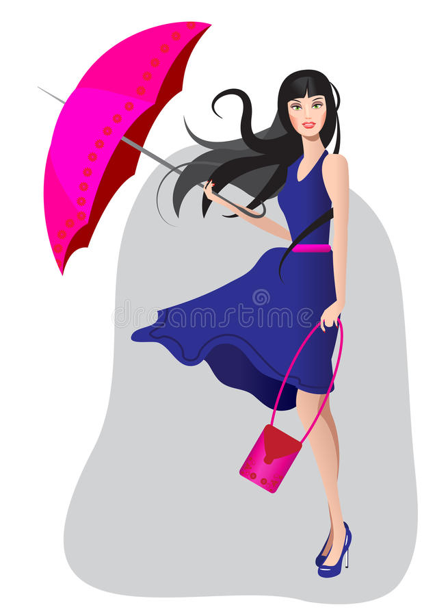 Download The Girl In A Blue Dress With An Umbrella Stock Vector - Image: 28809063