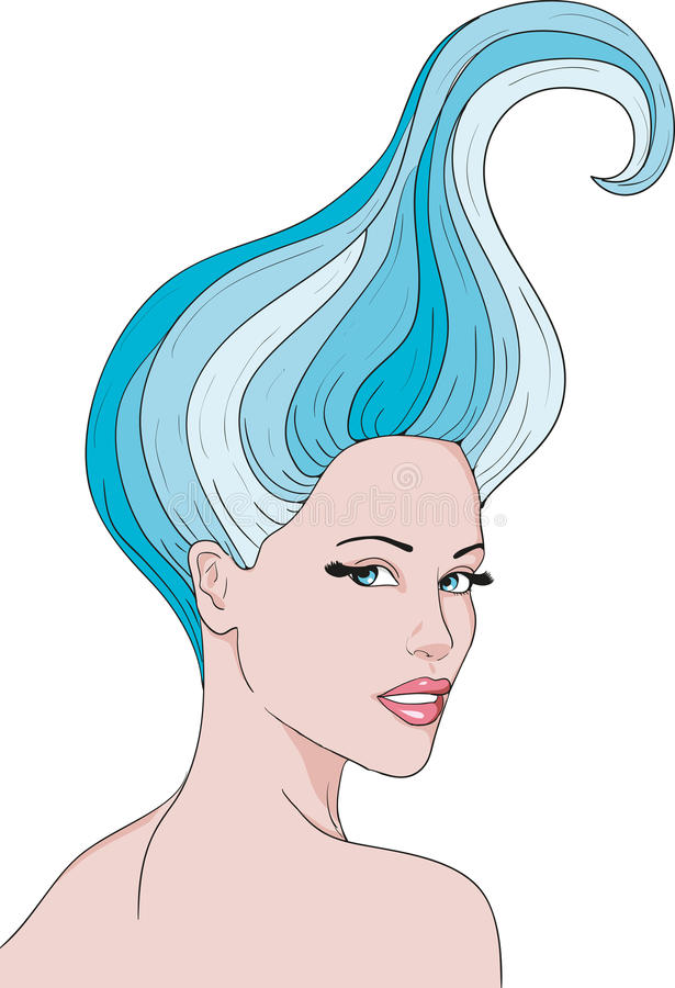 Download Girl with a blue hair stock illustration. Image of nice - 24228163