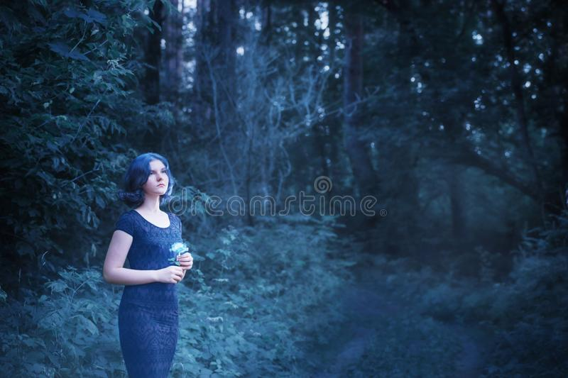 Girl with blue hair in night forest. Girl with blue hairand rose  in night forest stock image