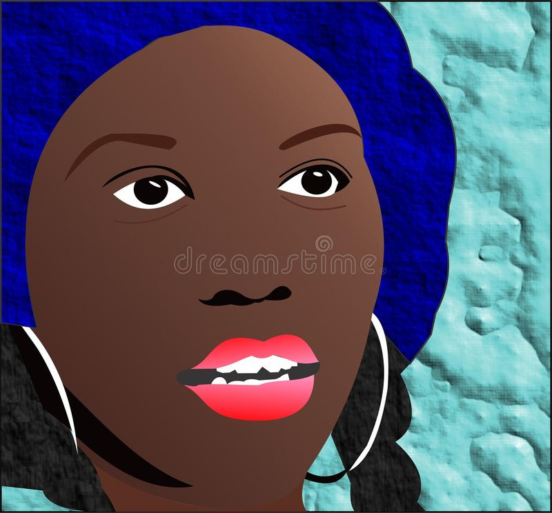 Girl with blue hat royalty free stock photos