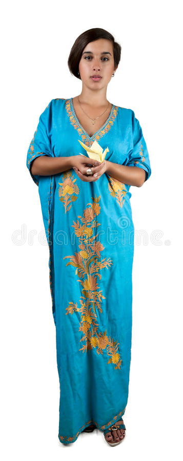 Girl In Blue Indian Dress Royalty Free Stock Photo