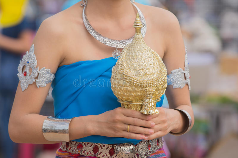 Download Girl In Blue Local Thai Suit In Wax Festival. Stock Photo - Image of grand, culture: 77006266