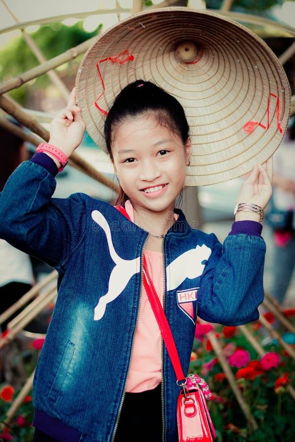 Girl In Blue Puma Denim Zip-up Jacket Smiling stock images