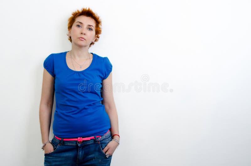 Girl in a blue shirt royalty free stock photos