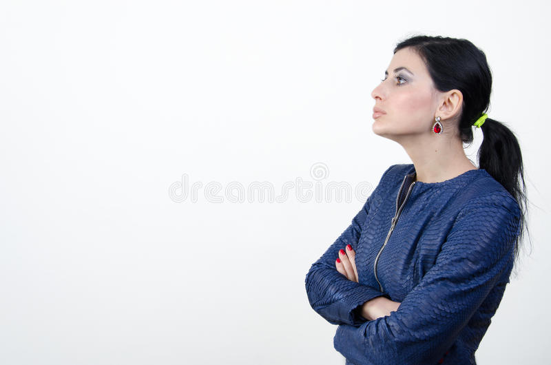 Girl in a blue shirt royalty free stock photography