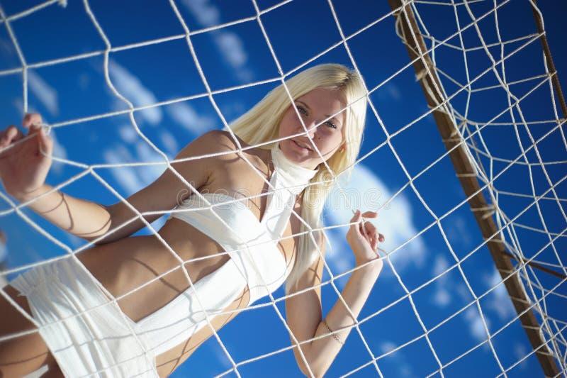 Girl on blue sky
