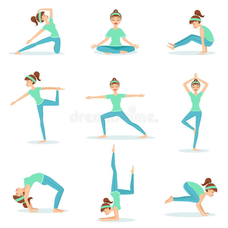 Girl In Blue Training Clothes Demonstrating Yoga Postures. Set Of Simple Childish Design Illustrations With Female Character Doing Yoga Poses. Isolated Vector stock illustration