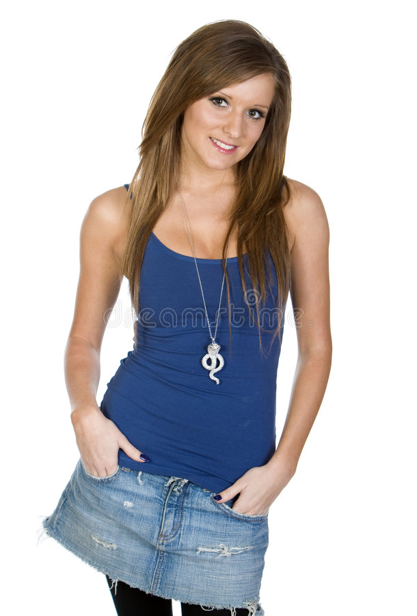 Girl in Blue Vest against White Background. Cute Teenager Girl in Blue Vest against White Background royalty free stock photography