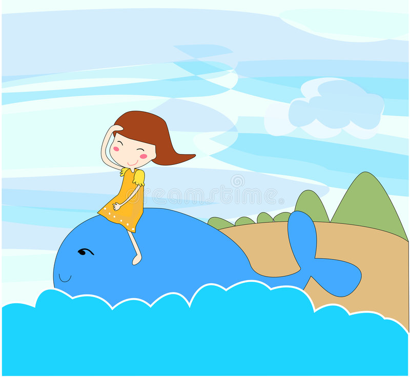 Girl and blue whale stock illustration