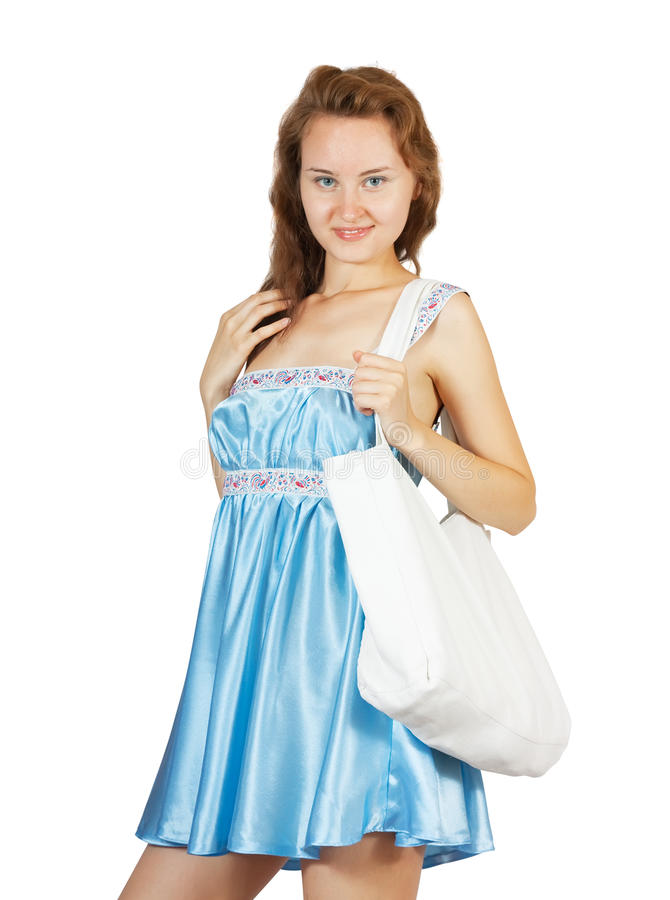 Download Girl In Blue Whith White Bad Stock Photo - Image: 15152748