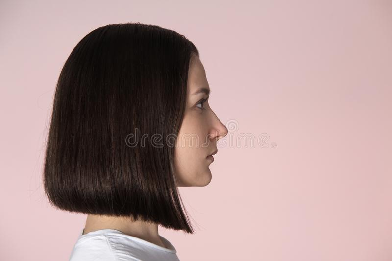 Girl with blunt bob hairstyle stock image
