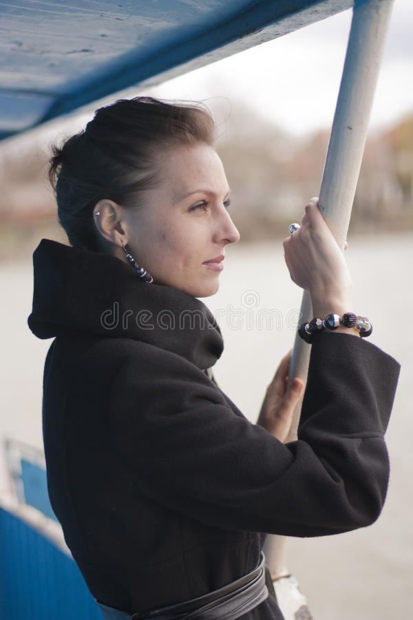 Girl on a boat stock image