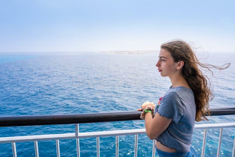 Girl in boat railing at Formentera Ibiza. Islands of Spain stock image