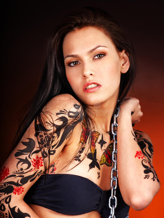 Download Girl with body art. stock image. Image of grunge, tattoo - 24459179