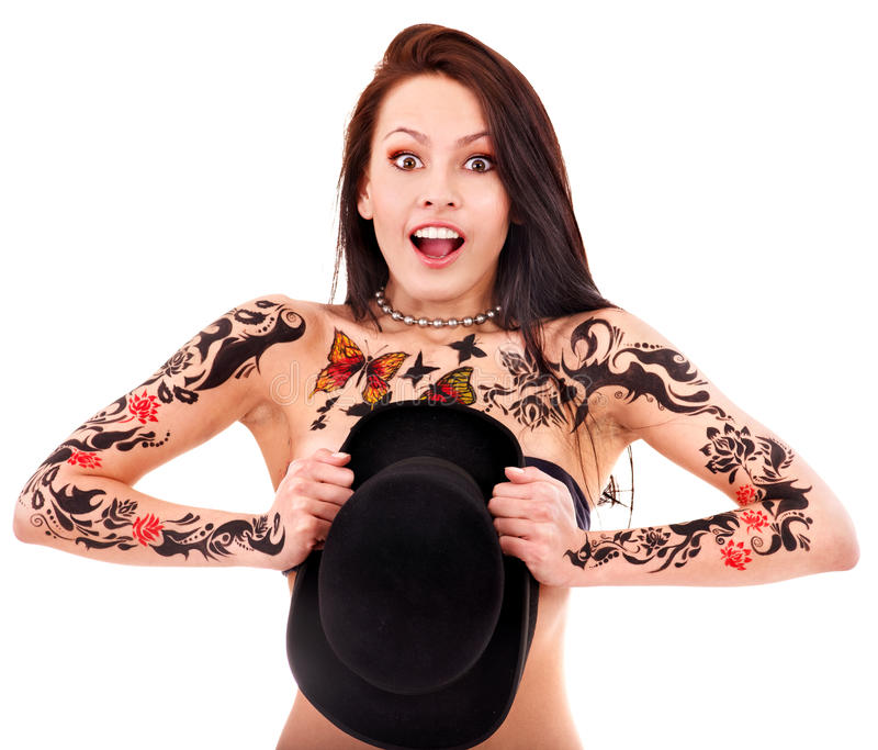 Download Girl with body art. stock image. Image of woman, background - 24459199