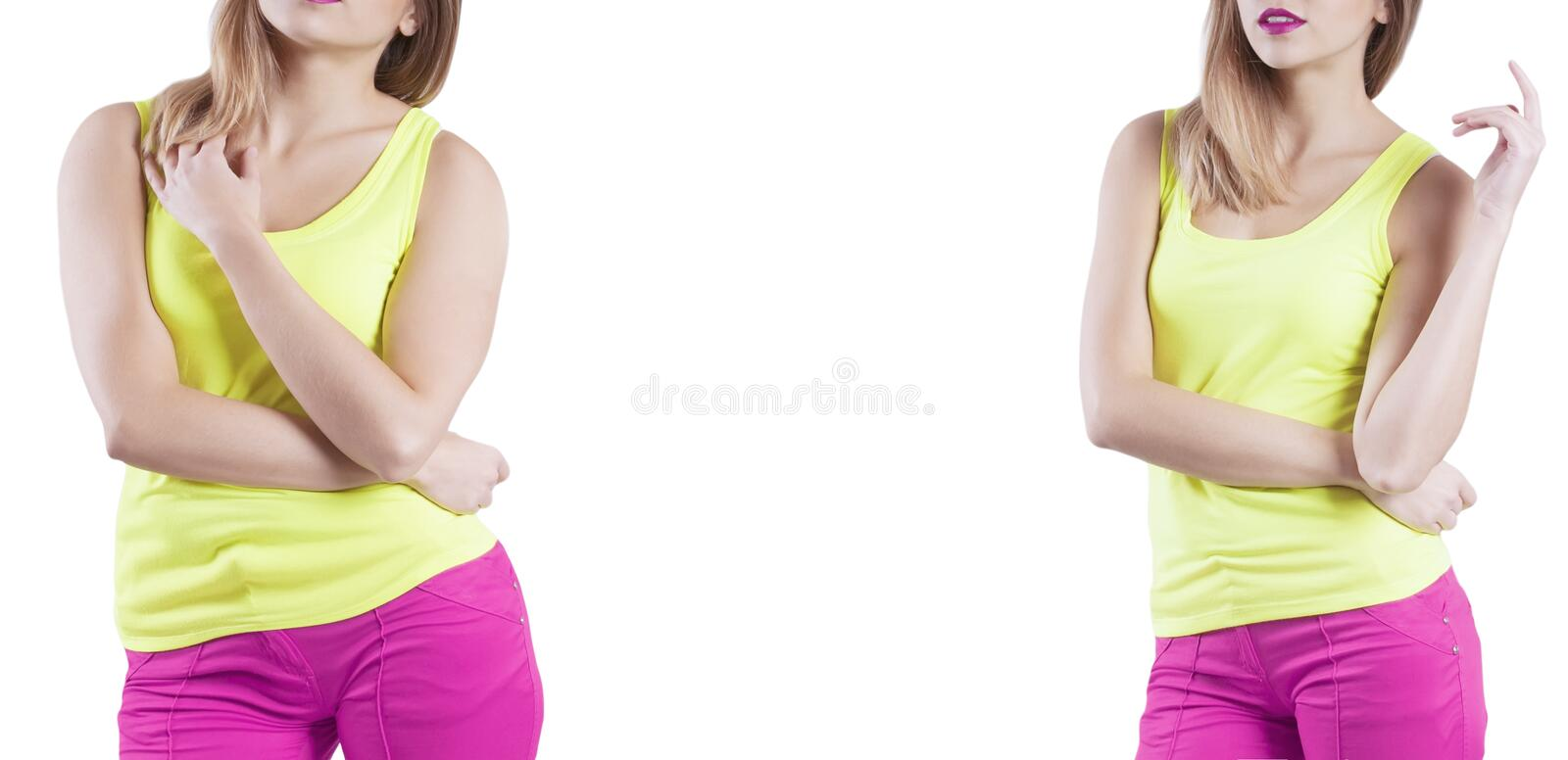 Girl body before and after the diet excess loss health stock photos
