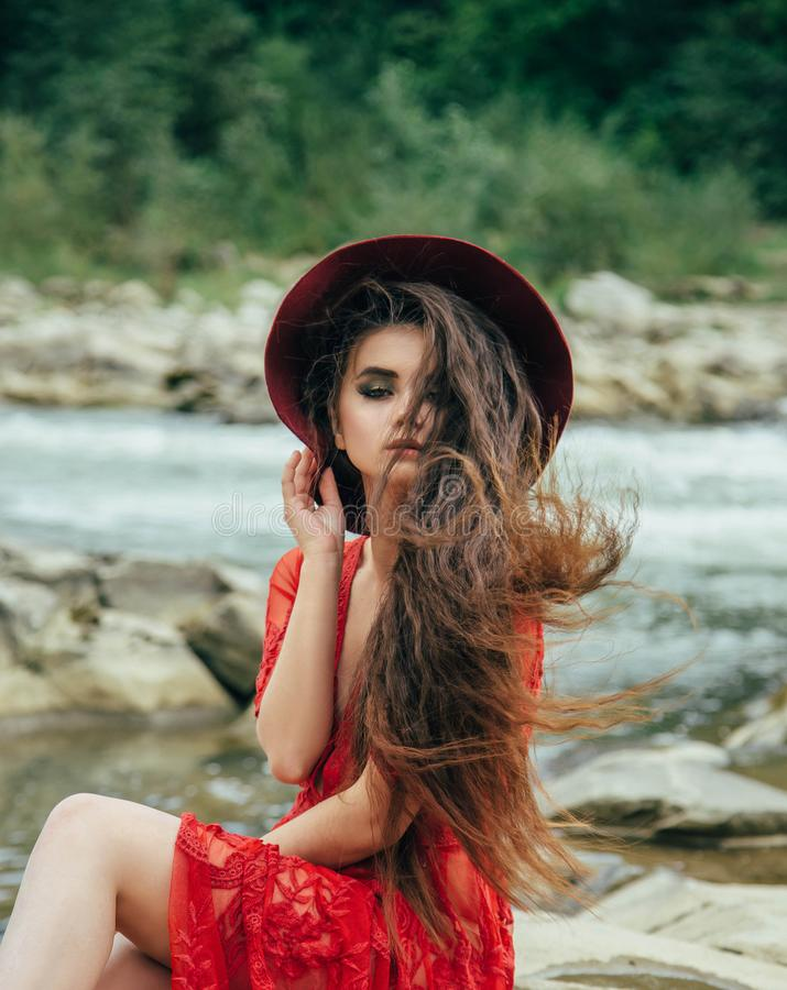 The girl in the boho style royalty free stock images