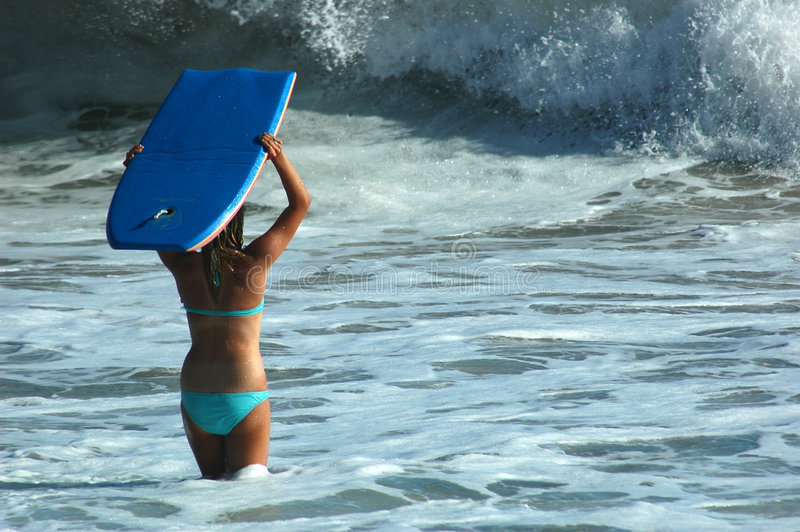 Download Girl With Boogie Board stock image. Image of vlasta, boogyboard - 990285