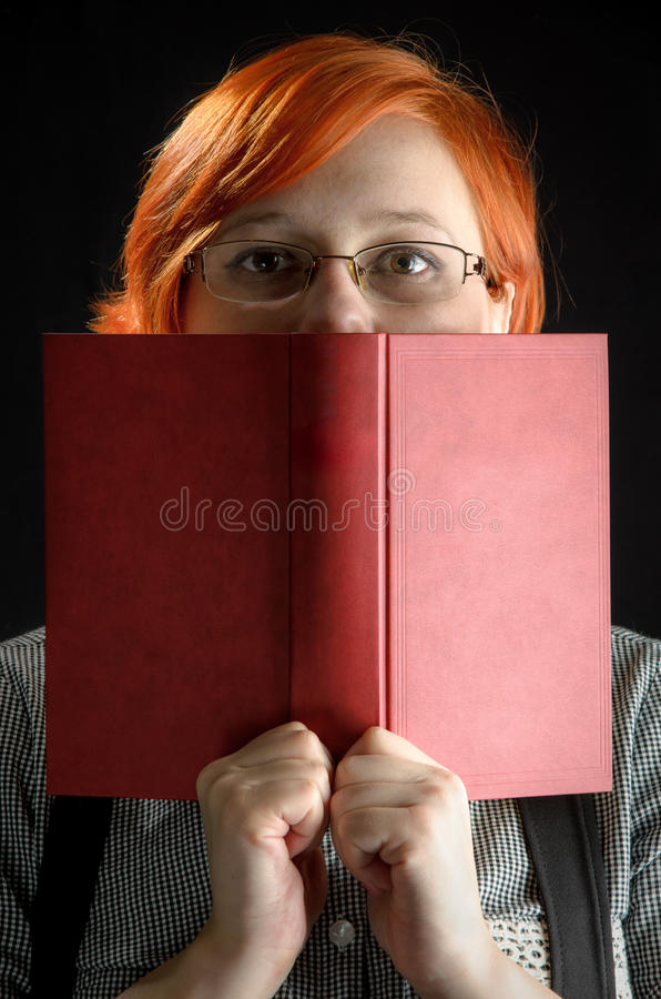 Book Cover Black Hair : Girl with book on black background stock photo image