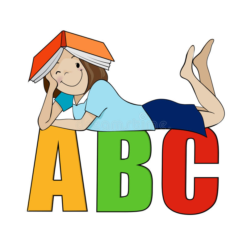 Little Kid Holding ABC Letter Isolated On White Background