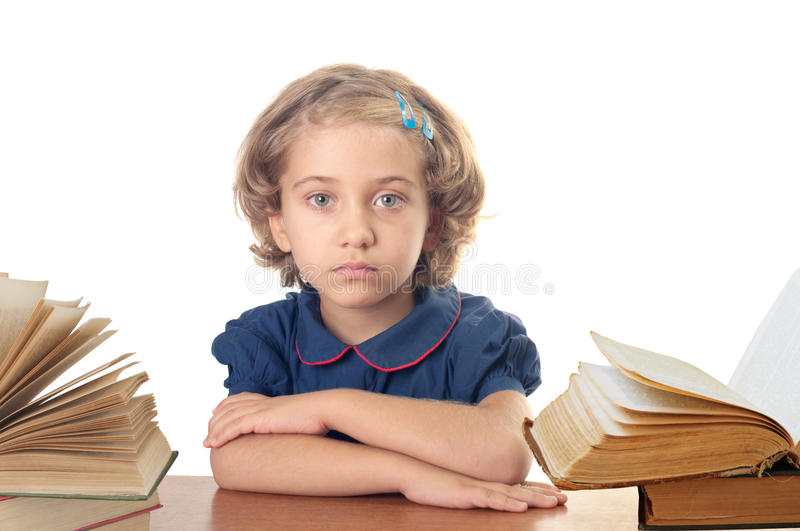 Girl with the book stock images