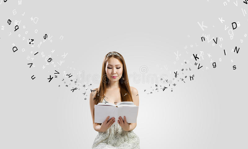 Girl with book royalty free stock photos