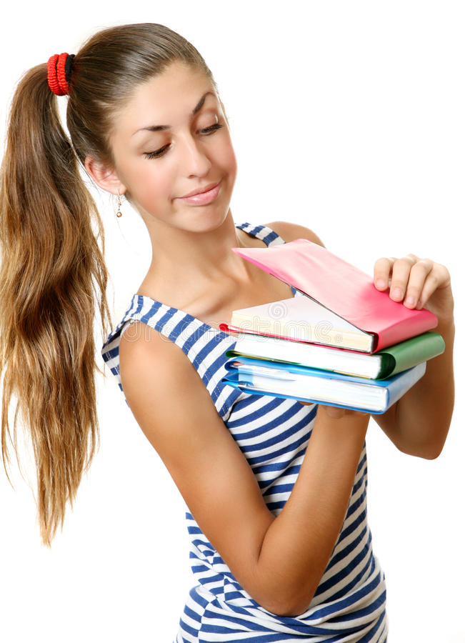 Download The girl with books stock photo. Image of white, developmant - 21491772