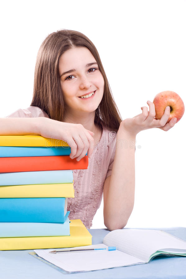 The girl with books royalty free stock image