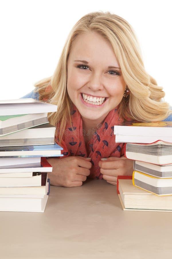 Girl books big smile stock image