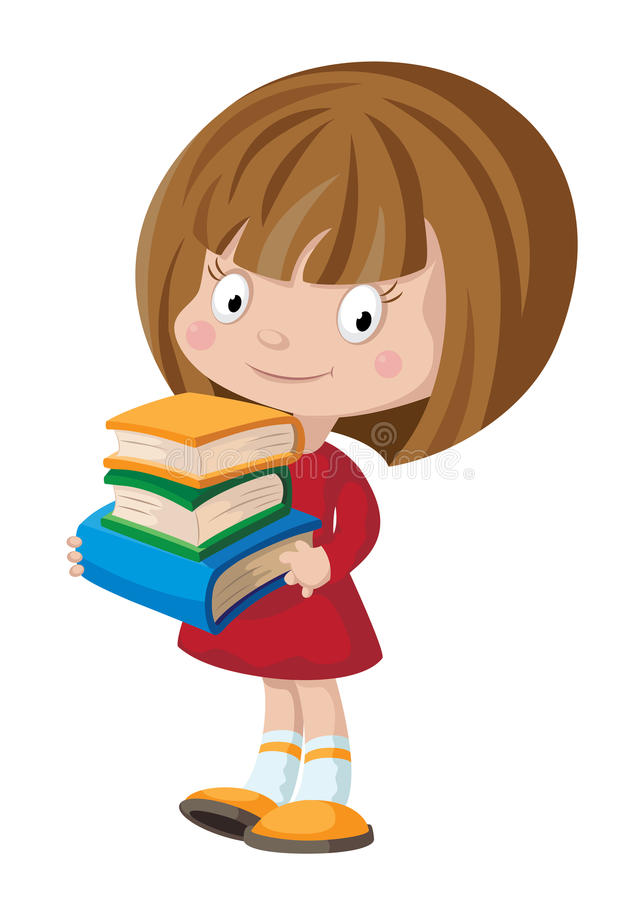 Girl with books. Illustration of a girl with books stock illustration