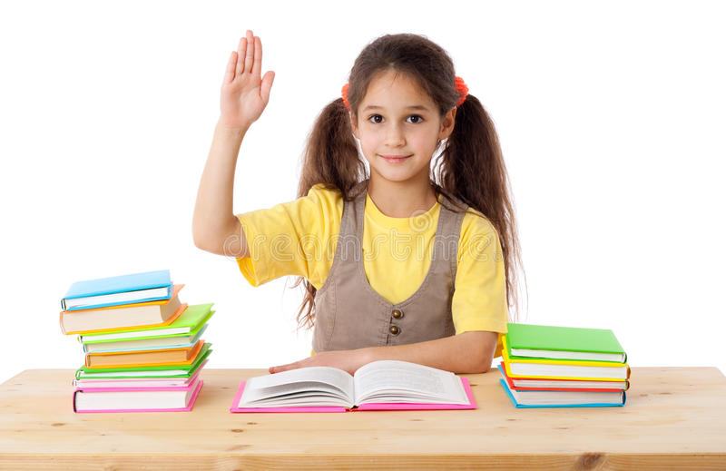 Girl with books and raises his hand up royalty free stock images