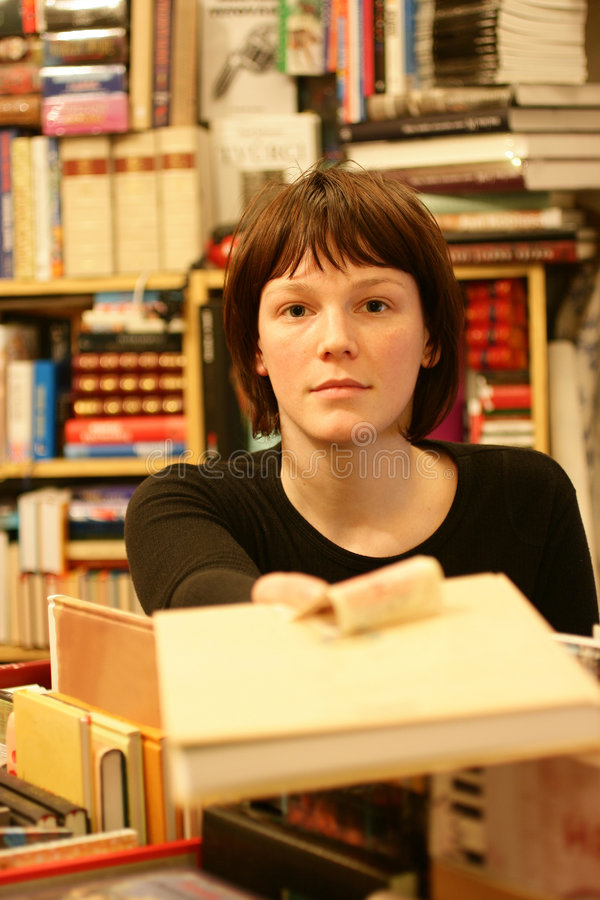 girl bookshop stock photography