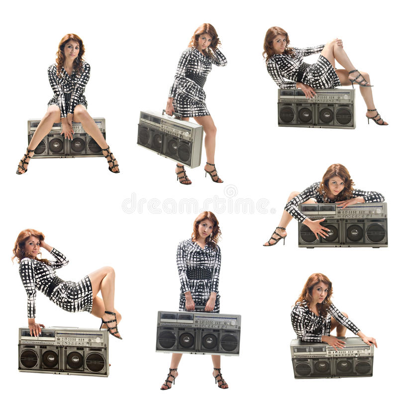 Girl with a boom box. A set of seven icons isolated on a white background royalty free stock photo