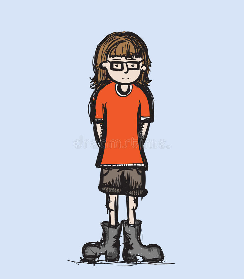 Girl in Boots stock illustration