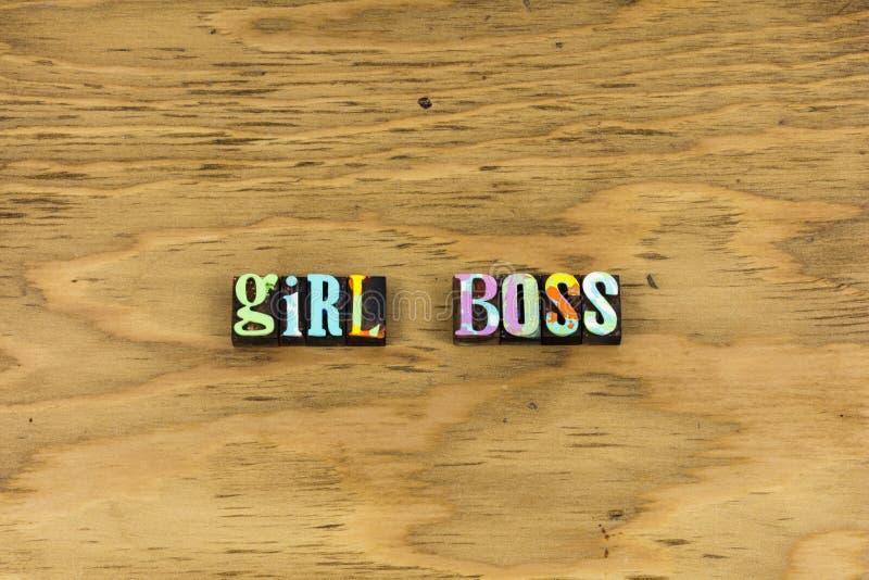 Girl boss leader business woman letterpress stock image