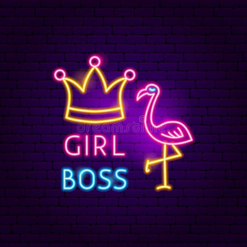 Girl Boss Neon Sign vector illustration