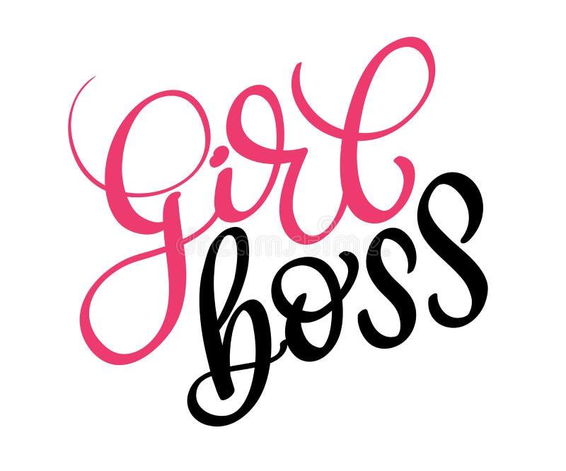 Girl boss text on white background. Calligraphy lettering illustration EPS10 vector illustration