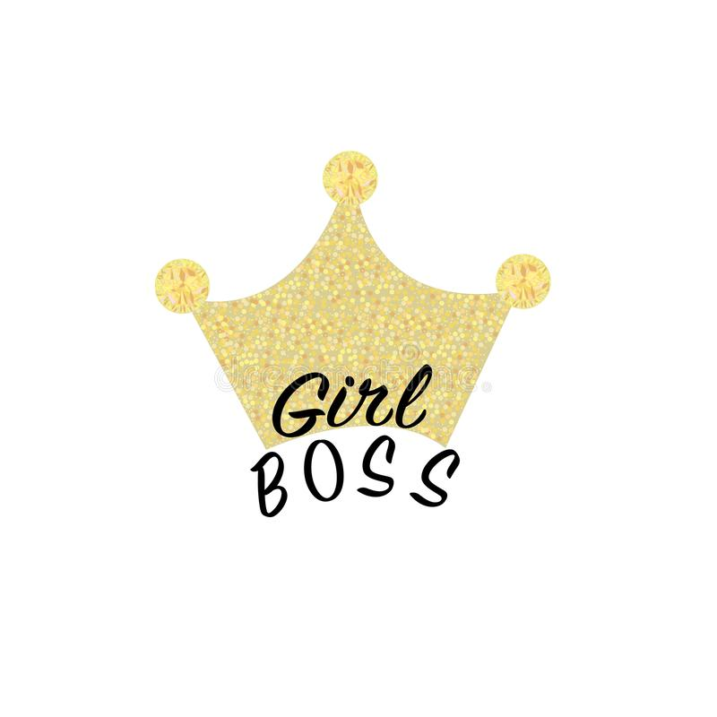 ``Girl Boss`` vector calligraphy hand brush letters. Gold shining crown. Design for postcard, greeting card, print, t-shirt vector illustration
