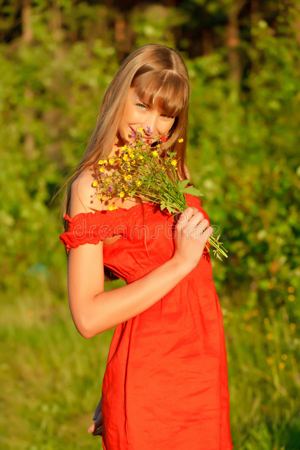 Download The girl with a bouquet stock photo. Image of girl, glamour - 14743610