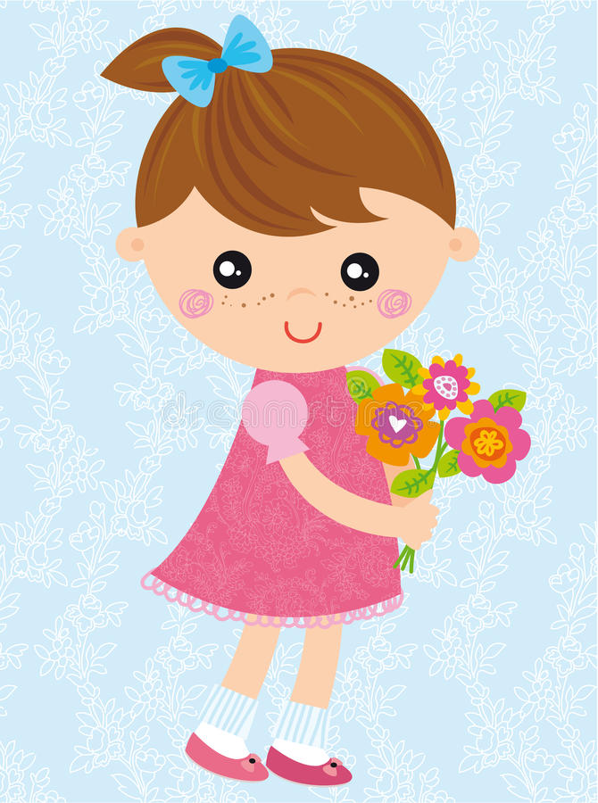 Girl with bouquet royalty free illustration